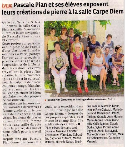 Pascale Pian Retour Presse Le Progrès juin 2012