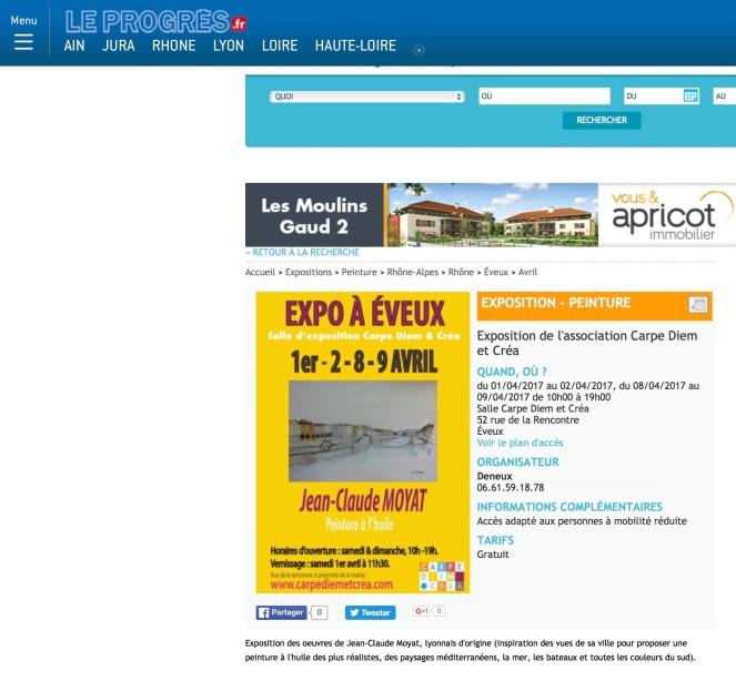 Site internet du Progrès mars:avril 2017